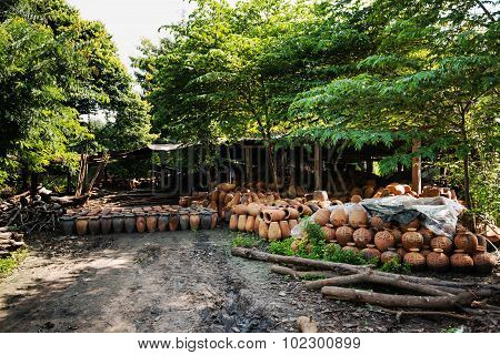 The Furnace Used In Making Pottery From Clay Sculpture Of Thailand.