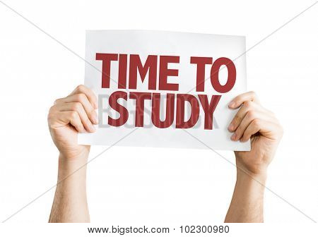 Time To Study placard isolated on white