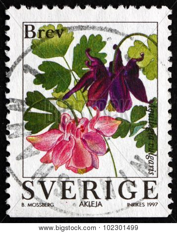Postage Stamp Sweden 1997 European Columbine, Flowering Plant