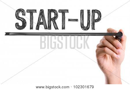 Hand with marker writing: Start-Up