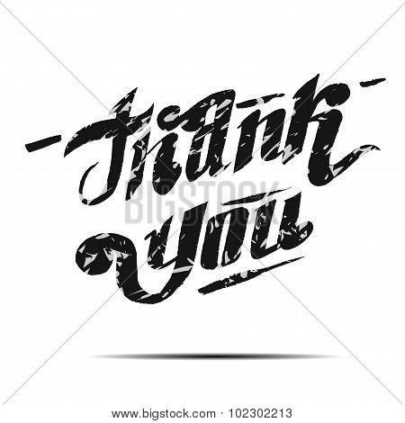 thank you hand lettering - handmade calligraphy. vector illustration.