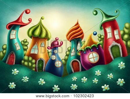 Fantasy village with funny houses