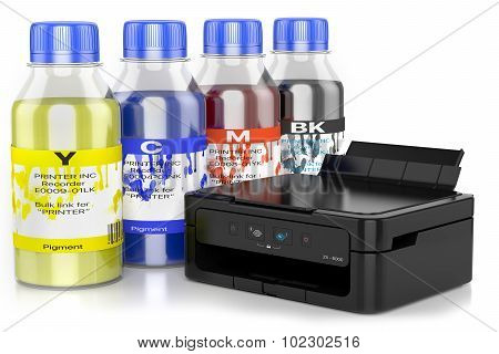 Paint Cans And Multifunctional Printer