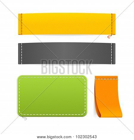 Realistic Fabric Clothing Labels Set. Vector