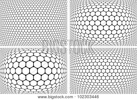 Hexagons patterns. Abstract geometric backgrounds set. Vector art.