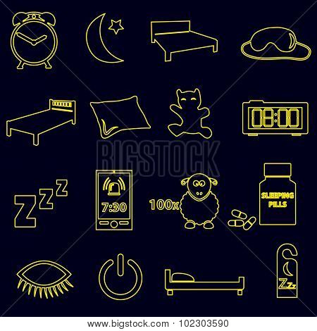 Sleeping Time Simple Outline Icons Set Eps10