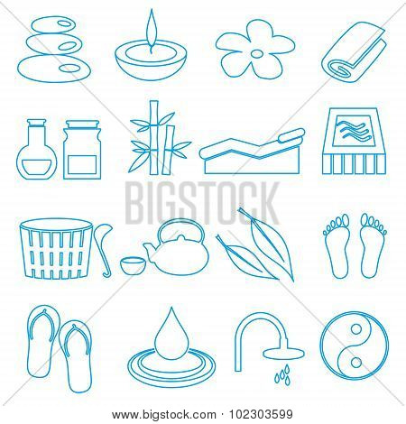 Spa And Relaxation Simple Blue Outline Icons Set Eps10