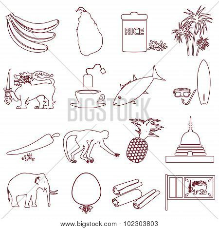 Sri-lanka Country Symbols Outline Icons Set Eps10