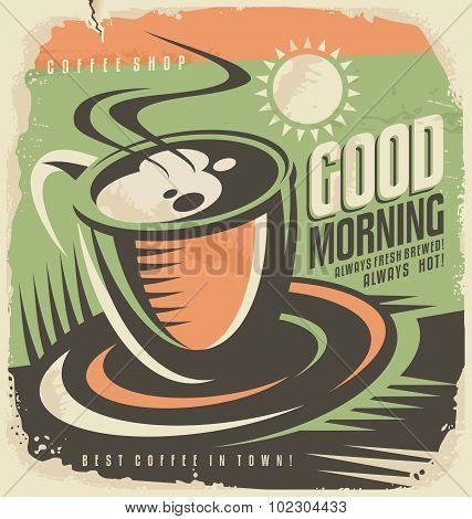 Retro poster design template for coffee shop