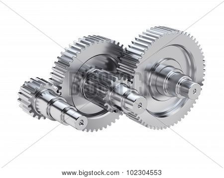 Steel Gear Wheels Technical Mechanical Illustration