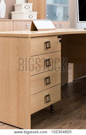 desk with drawers in the office