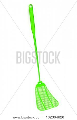 green fly-swat on a white background