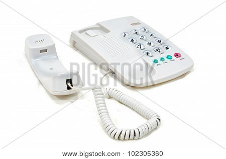 Modern White Business Office Telephone Isolated On A White Background.