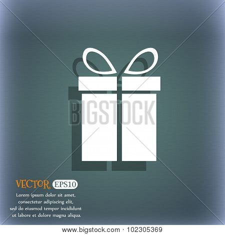 Gift Box Sign Icon. Present Symbol. On The Blue-green Abstract Background With Shadow And Space For