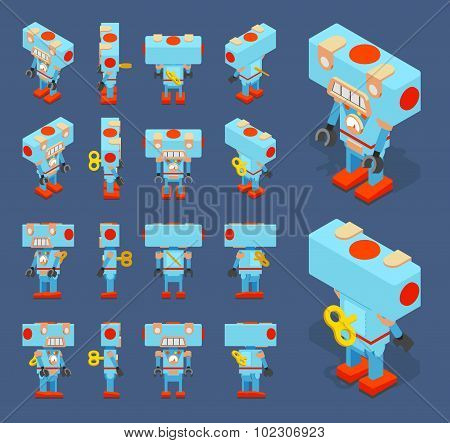 Isometric blue toy robot