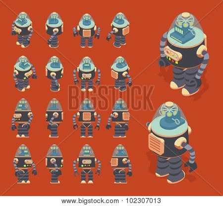 Isometric retro robot