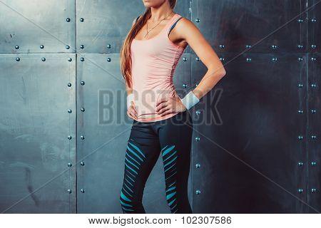 Sportswoman showing perfect female body in sports clothing sportswear concept sport healthy lifestyl
