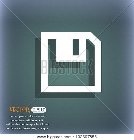 Floppy Icon. Flat Modern Design. On The Blue-green Abstract Background With Shadow And Space For You