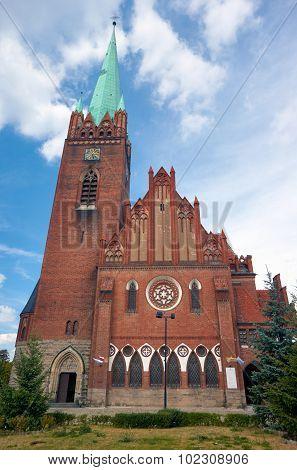 The neo-Gothic facade of the church