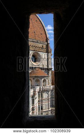 Florence Duomo Seen Trough A Window Of Giotto Campanile