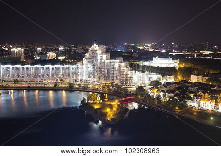 Night Minsk from above long exposure