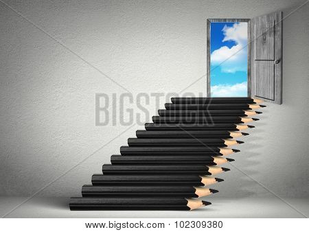 Stairs From Pencils To Sky, Stairs From Pencils, Opportunity Creative Concept