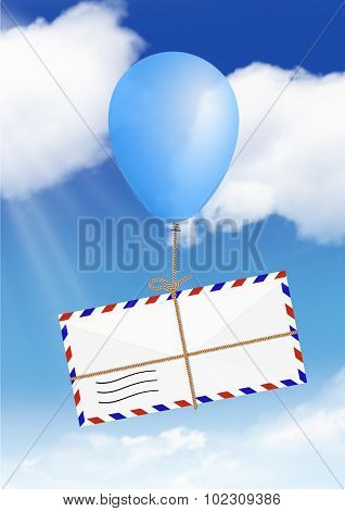 Mail Concept, Envelope Fly On Balloon With Copy Space