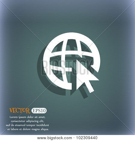 Internet Sign Icon. World Wide Web Symbol. Cursor Pointer. On The Blue-green Abstract Background Wit