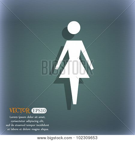 Female Sign Icon. Woman Human Symbol. Women Toilet. On The Blue-green Abstract Background With Shado