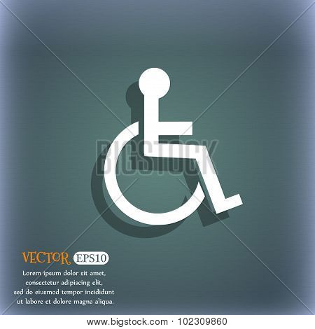 Disabled Sign Icon. Human On Wheelchair Symbol. Handicapped Invalid Sign. On The Blue-green Abstract