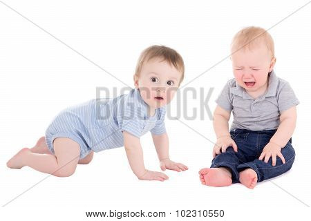 Amazed Baby Boy Toddler And His Friend Crying Isolated On White