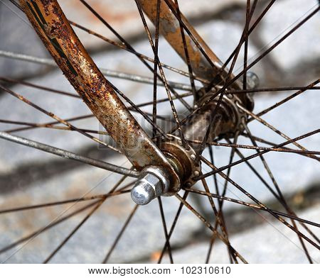 Closeup Of A Rusty Bicycle Wheel Hub