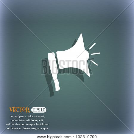 Megaphone Soon Icon. Loudspeaker Symbol. On The Blue-green Abstract Background With Shadow And Space