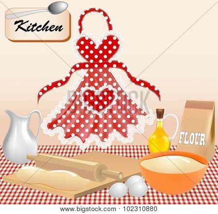 Illustration background with test kitchen apron and eggs