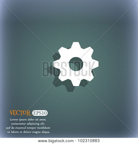 Cog Settings Sign Icon. Cogwheel Gear Mechanism Symbol. On The Blue-green Abstract Background With S