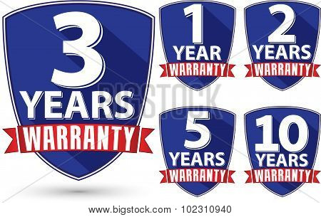 Flat Design Warranty Label Set With Red Ribbon, Vector Illustration