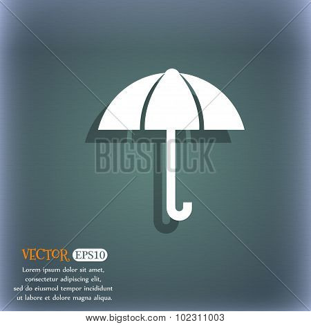 Umbrella Sign Icon. Rain Protection Symbol. On The Blue-green Abstract Background With Shadow And Sp