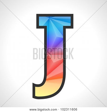Vector Geometric Gradient Design Triangular Polygonal Font. Children style Letter J