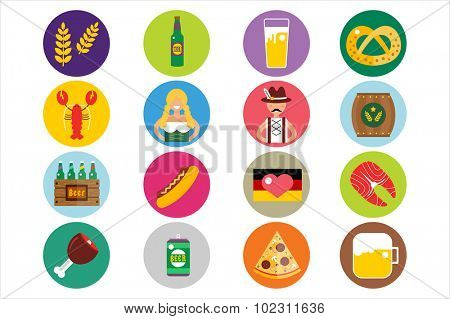 Set of flat Oktoberfest vector icons. Bottle Beer, Food and Drinks. Oktoberfest traditional German Oktoberfest festival icons, flat icons. Oktoberfest vector flat icons set. Food and drinks icons