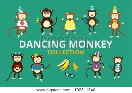 Happy cartoon vector monkey dancing party birthday background. Monkey party birthday dance. Happy monkey face, party hats, banana, jump walk, smile, play. Vector jungle monkey animals cartoon flat