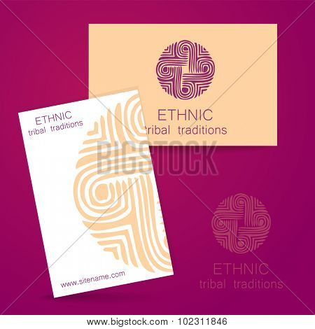 Ethnic logo -  traditional symbol. Template design of corporate identity of ethnic shops, yoga studios, center of cultural development, organic store, natural cosmetics and others.