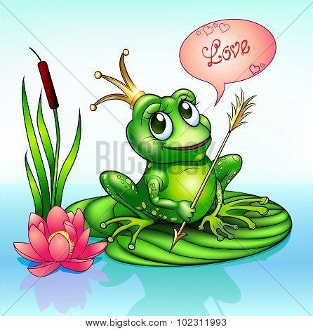 illustration frog princess on a leaf with a boom