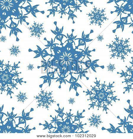 Celebratory Seamless Pattern With Blue Snowflakes