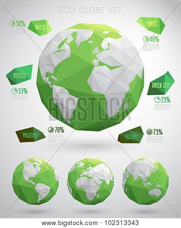 Set of vector eco globes - geometric modern style.