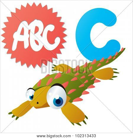 Funny Cute Animals ABC: Swimming Dinos: C  is for Cyamodus