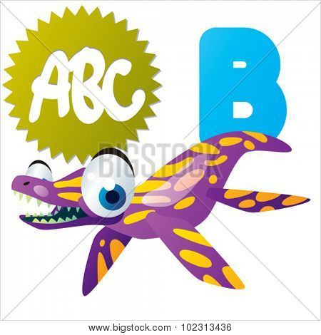 Funny Cute Animals ABC: Swimming Dinos: B  is for Brachauchenius