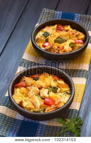 Savory Baked Vegetable Bread Pudding