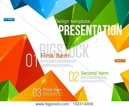 Vector Brochure Template with Colorful Triangles.
