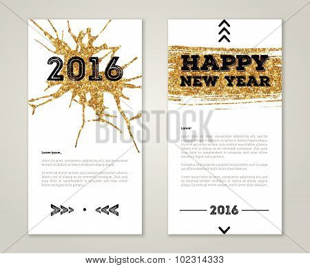 Cute New Year Greeting Cards with Gold Confetti Glitter Texture