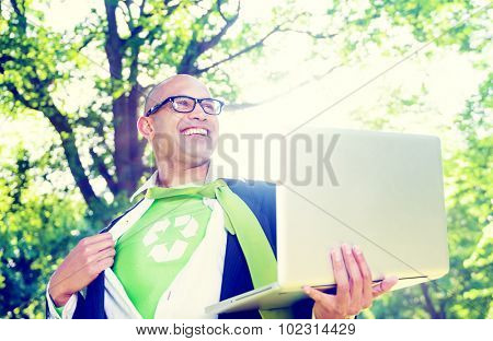 Conservative Businessman Relaxation Freedom Nature Concept